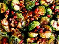 Roasted Brussels Sprouts with Pomegranate Molasses Pinterest Pin on ToriAvey.com