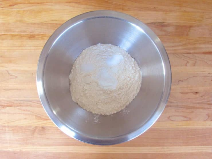 Dry ingredients whisked in a mixing bowl.