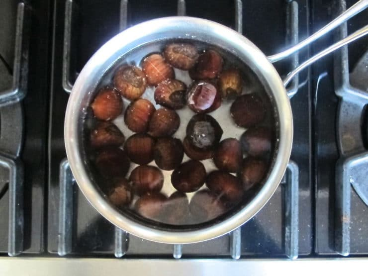 Chestnuts in a pot of water.