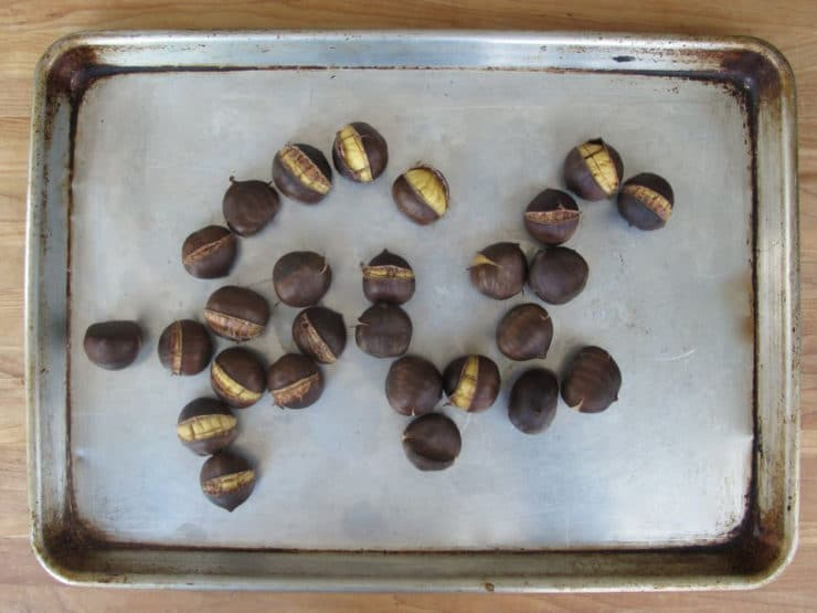 Chestnuts on a baking sheet.