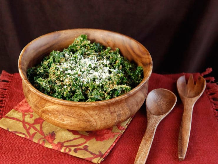 Garlicky Kale Parmesan and Panko Salad - A delicious and healthy recipe for Kale Salad with Roasted Garlic Dressing, Parmesan, Toasted Panko and Crushed Red Pepper Flakes.