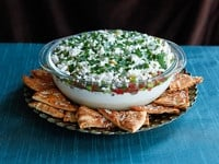 Mediterranean Seven Layer Dip - Healthy Appetizer Party Recipe