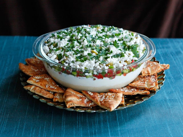 Mediterranean 7 Layer Dip - Healthy Appetizer Party Recipe