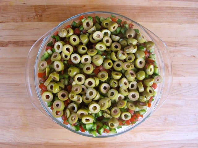 Mediterranean Seven Layer Dip - Healthy Party Appetizer Recipe