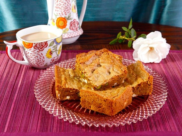 Pistachio Rose Blondies with White Chocolate & Browned Butter - Tempting and Exotic Dessert Recipe