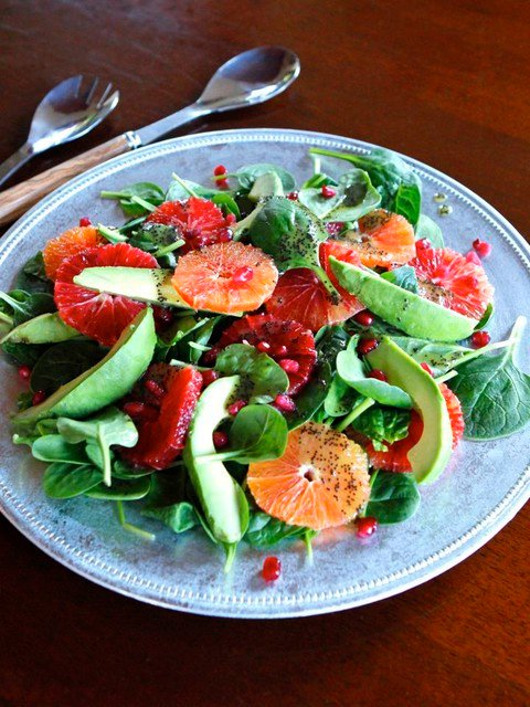 Citrus Avocado Salad with Poppy Seed Dressing - Healthy Winter Spinach ...