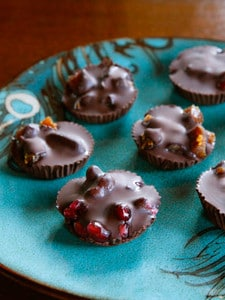 Dark Chocolate Fruit Candies with Pomegranates, Figs and Dates - Sweet Natural Treats