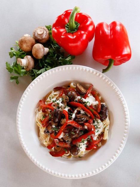 Mushroom Pepper Pasta with Creamy Feta Goat Cheese Sauce - Easy Weeknight Recipe
