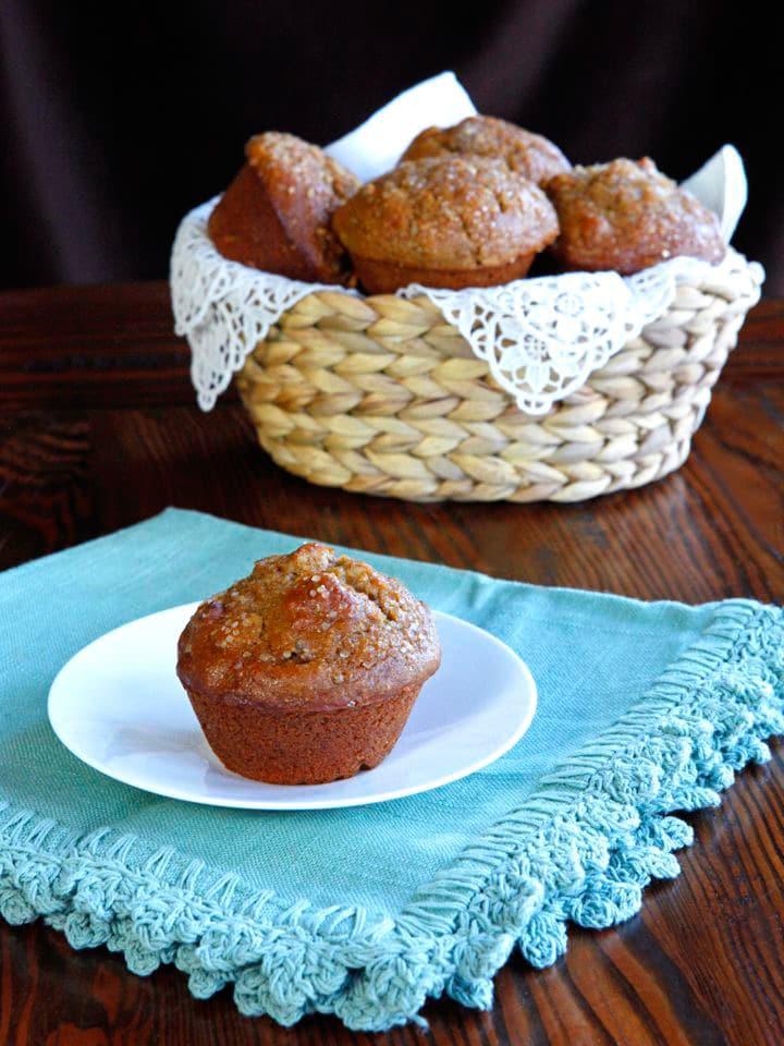 Seven Species Muffins - Biblical Recipe for Tu B'Shevat. These scrumptious muffins include the Seven Species of the Torah - Wheat, Barley, Fig, Date, Pomegranate, Olive, Grape. Kosher, Pareve.