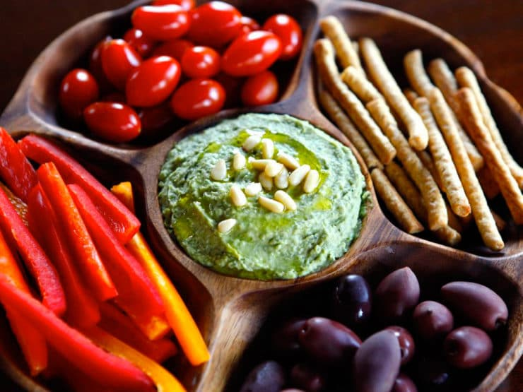 White Bean Basil Pesto Hummus - Healthy and Delicious Mediterranean ...
