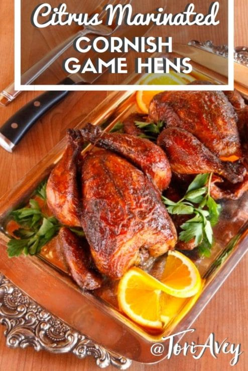 Citrus Marinated Cornish Game Hens Pinterest Pin on ToriAvey.com