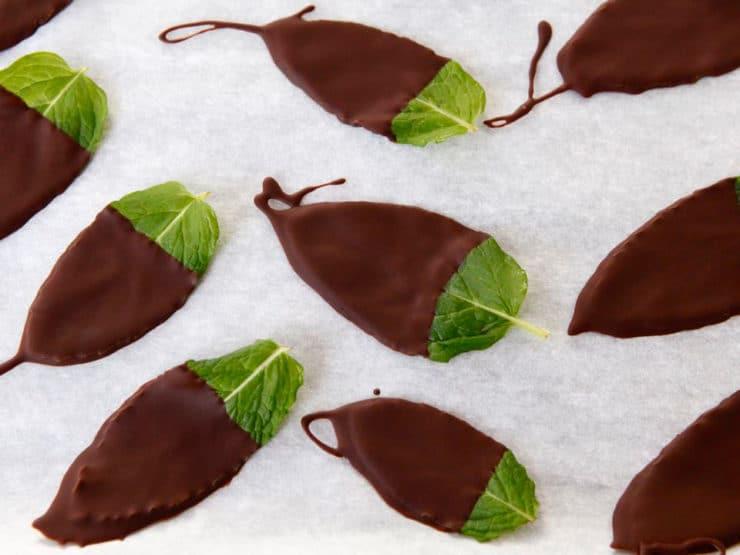 Escape with Ghiradelli Intense Dark: Dark Chocolate Mint Leaves - Natural bite-sized mint dessert. Large fresh mint leaves frozen in Ghirardelli Twilight Delight Intense Dark Chocolate.