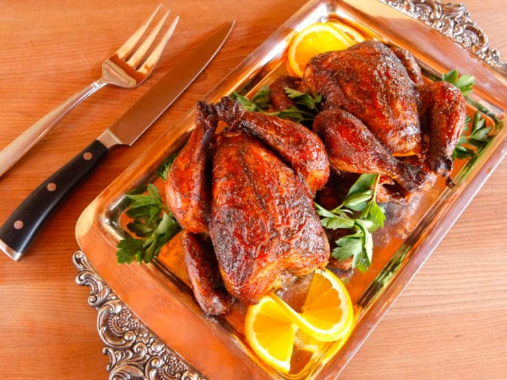Marinated Cornish Game Hens - Small Roasted Chickens with Orange and Spices by Tori Avey