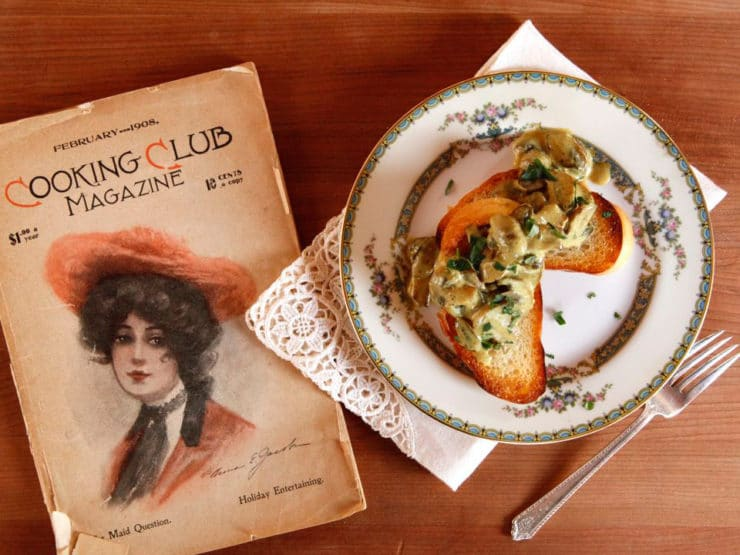 Vintage 1908 recipe for Curry Mushroom Toast, adapted by Tori Avey from Cooking Club Magazine on The History Kitchen