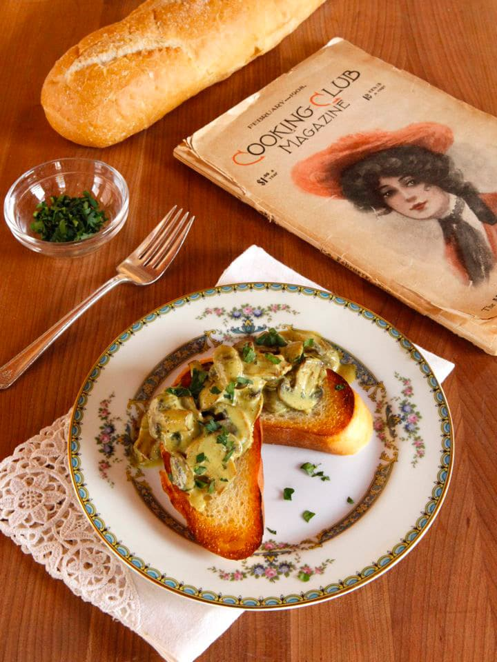 Curry Mushroom Toast - A vintage 1908 recipe from Cooking Club Magazine, adapted by Tori Avey.