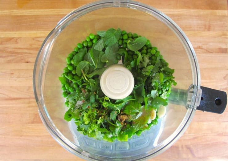 Spring peas in a food processor.