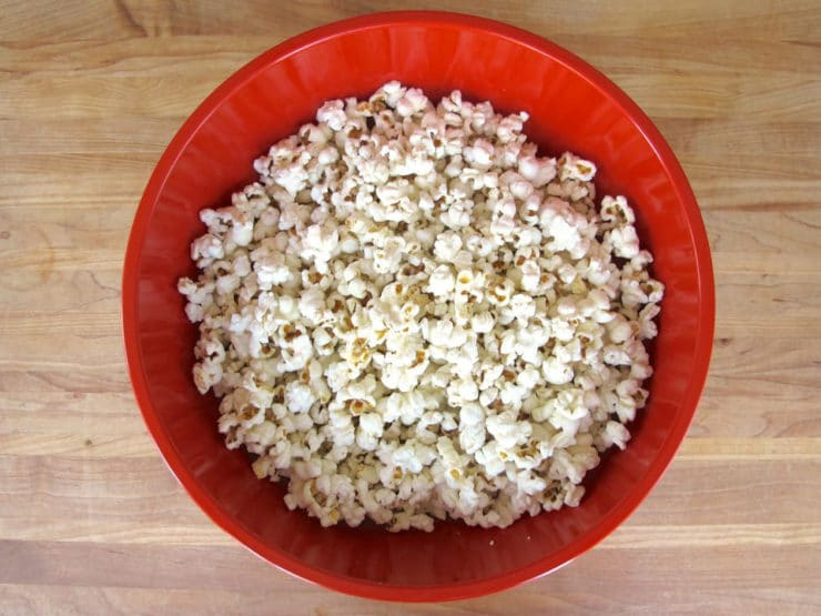 Large bowl of popped popcorn.