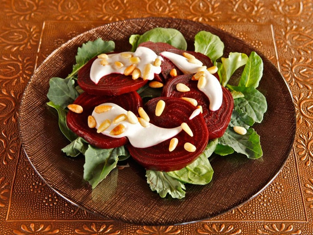 Roasted Beets with Tahini and Pine Nuts - Appetizer Salad, Aphrodisiac Recipe for Valentine's Day