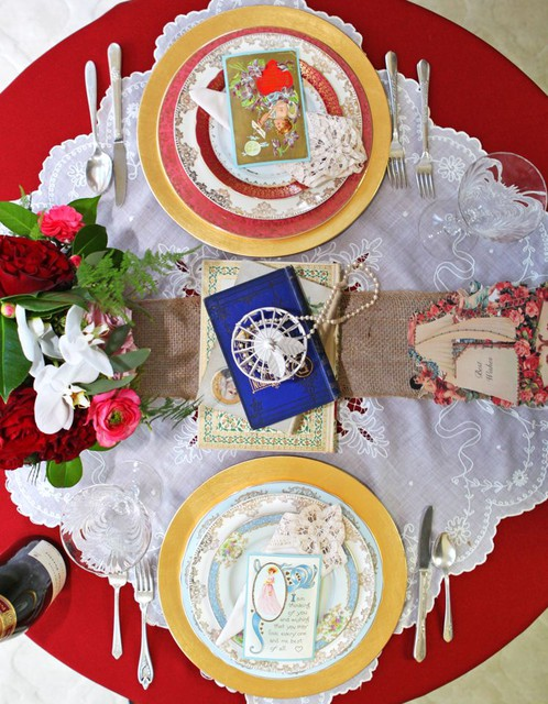 A Vintage Valentine's Tablescape for Two designed by Tori Avey with help from Dish Wish and Mulberry Row Floral
