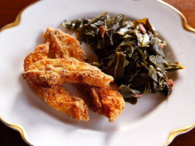 Recipe Inspired by Mark Twain's Huckleberry Finn - Catfish and Collard Greens on The History Kitchen