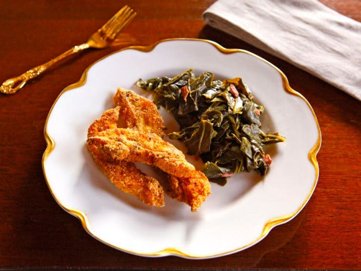 Huckleberry Finn Catfish and Collard Greens