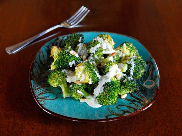 Roasted Broccoli Salad with Smoked Gouda Dressing - Simple, healthy and deliciously savory salad recipe with a subtle kick.