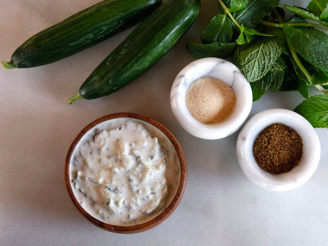 Cucumber Raita - Recipe for Delicious Indian Yogurt Sauce with Spices by Tori Avey