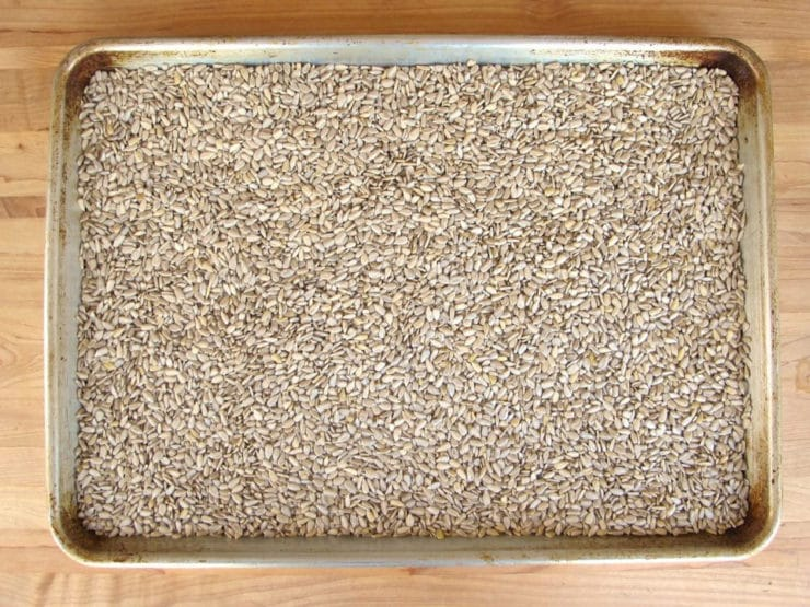 Sunflower seeds spread on a baking sheet to toast.