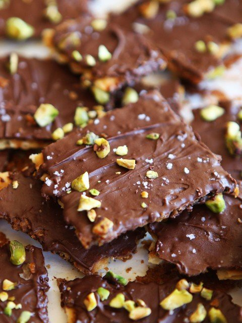 "Chocolate Toffee Matzo Crunch with Pistachios & Sea Salt - Delicious Passover dessert inspired by Marcy Goldman's ""A Treasury of Holiday Baking"""