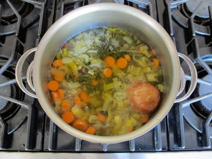 Simmering vegetables on the stove.