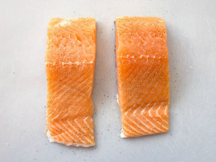 Raw salmon filets.