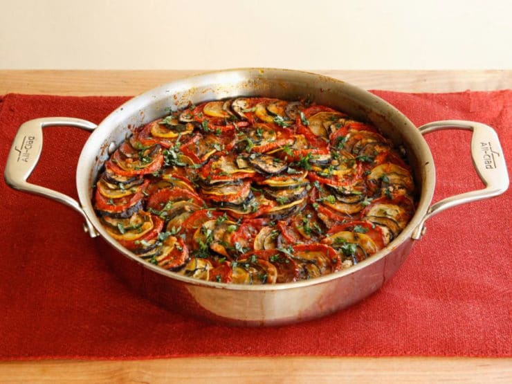 Spicy Smoky Ratatouille Casserole - An elegant, flavorful recipe for ratatouille with Middle Eastern spices, smoked paprika and mushrooms. Hearty vegan entree.