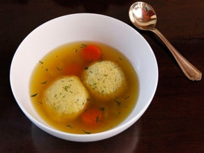Vegetarian Matzo Ball Soup Recipe by Tori Avey - one secret ingredient makes this the ultimate meatless matzo ball soup!
