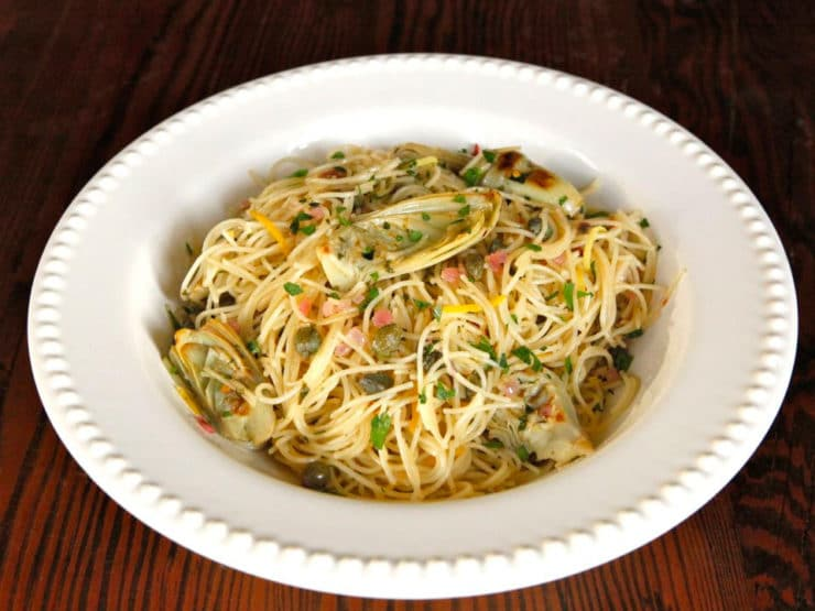 Lemon Butter Pasta with Artichokes and Capers - Easy Flavorful Meatless Meal by Tori Avey