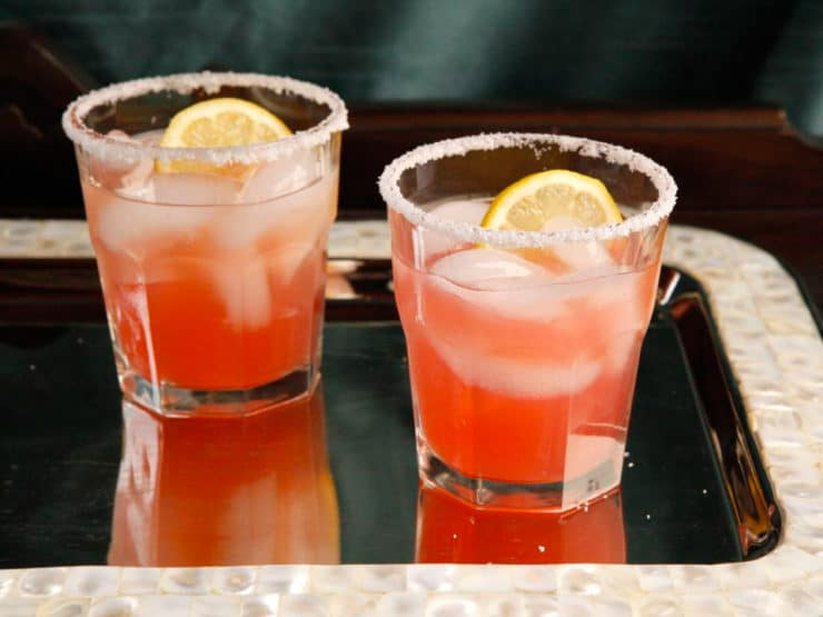 Rhubarb Rosewater Margarita - A Sweet-Tart Cocktail Recipe with Rhubarb Syrup, Lemon and Exotic Rosewater Essence by Tori Avey