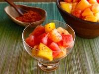 Ensalada de Frutas con Chile - Spicy Mexican Fruit Salad with Salt, Lemon and Chile de Arbol by Tori Avey