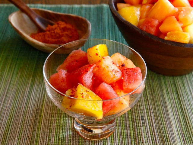 Ensalada de Frutas con Chile - Spicy Mexican Fruit Salad with Salt, Lemon and Chile de Arbol by Tori Avey