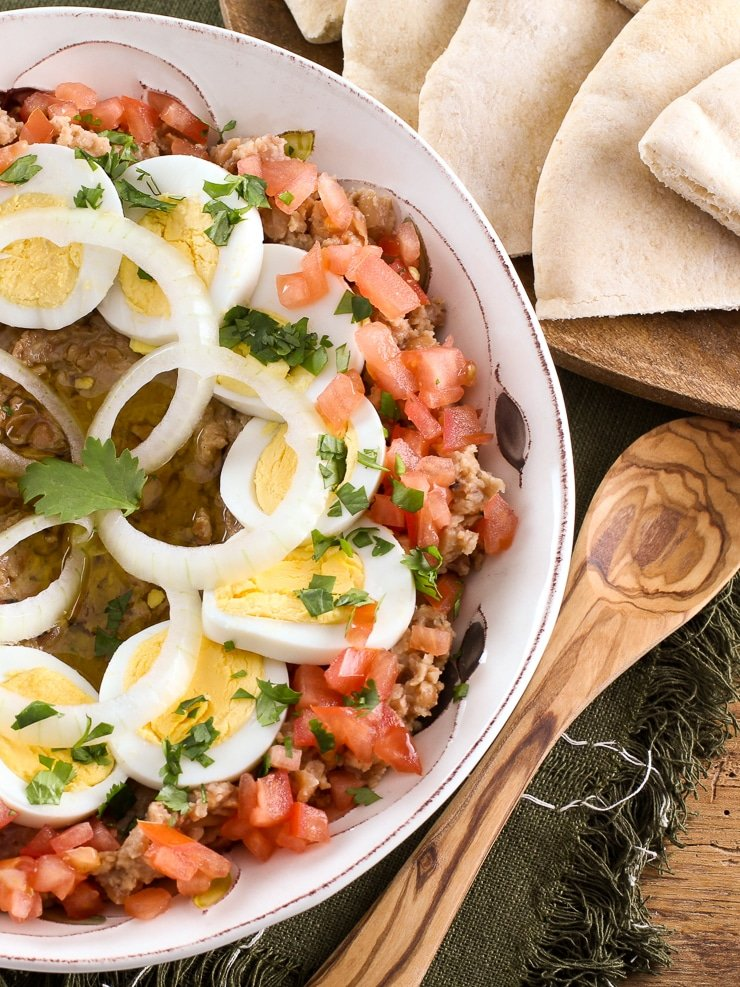 Ful Mudammas - Learn a historical Middle Eastern recipe from ancient times made with fava beans, olive oil, onion, garlic, and cumin. Ancient Israelite cooking.