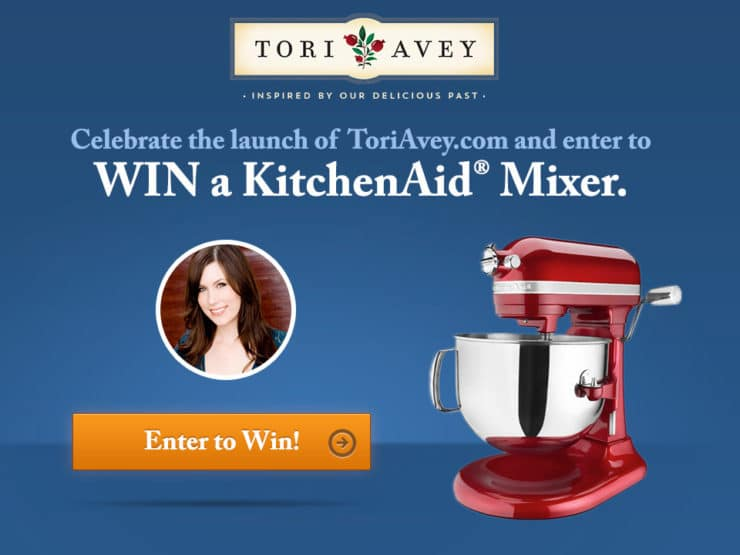 Celebrate the launch of ToriAvey.com with a KitchenAid mixer giveaway! #contest