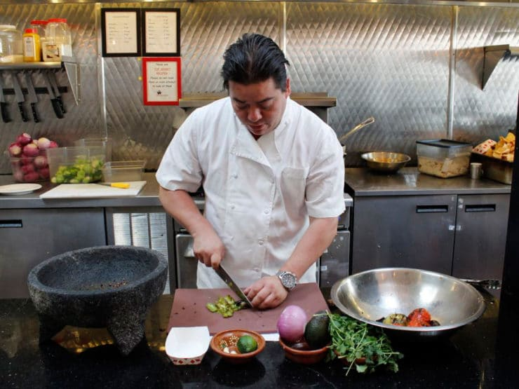 Katsuji's Smoky Chipotle Avocado Salsa - Authentic recipe for spicy salsa taquera with chipotle, tomatoes, tomatillos, avocado and lime from Chef Katsuji Tanabe, Mexikosher restaurant