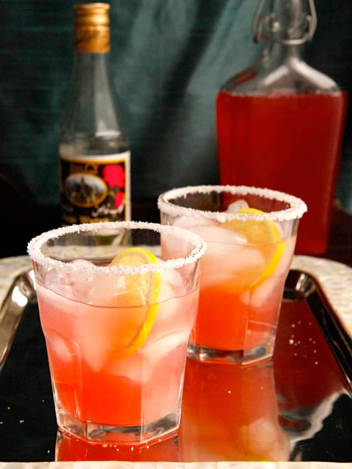 Rhubarb Rosewater Margarita - A Sweet-Tart Cocktail Recipe with Rhubarb Syrup, Lemon and Exotic Rosewater Essence. Cinco de Mayo cocktail recipe.