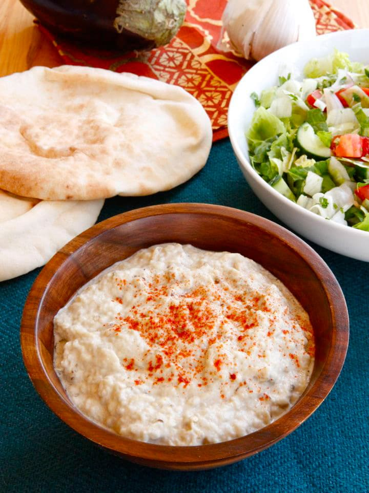 Creamy Baba Ghanoush - Recipe for Roasted Eggplant Tahini Dip
