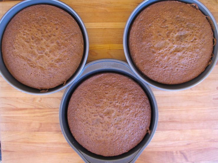 Three round cake layers, baked.
