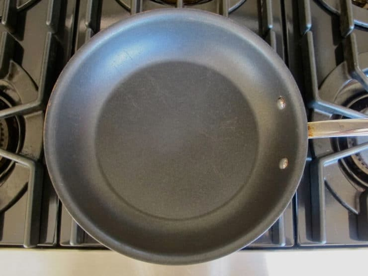 Nonstick skillet preheating.