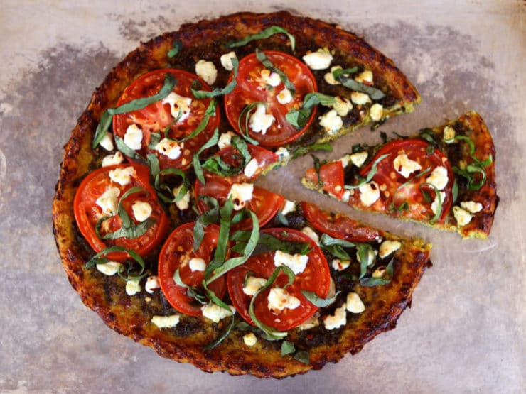 Tomato Basil Tart with Pesto, Goat Cheese and Cauliflower Crust - Gluten Free Recipe by Tori Avey