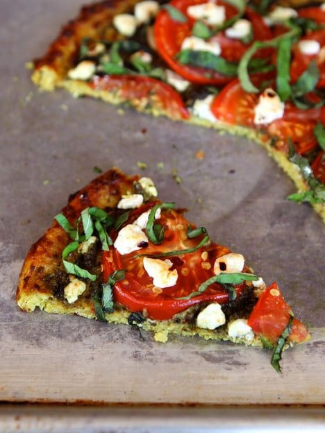 Tomato Pesto Tart with Basil, Goat Cheese and Cauliflower Crust  - Gluten Free Low Carb Recipe by Tori Avey