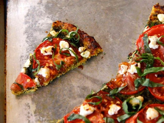 Tomato Basil Tart with Pesto, Goat Cheese and Cauliflower Crust  - Gluten Free Low Carb Recipe by Tori Avey