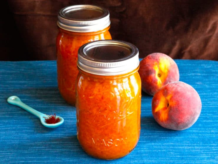 Peach Saffron Preserves Recipe - Step-by-step recipe for creating peach preserves with exotic saffron and a hint of cinnamon. Seasonal summer jam.