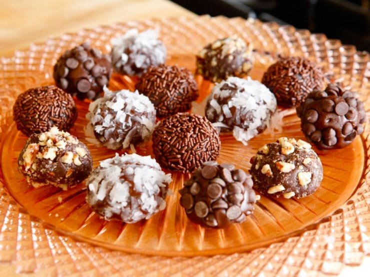 Brigadeiros - Recipe for Brazilian Chocolate Truffle Candies inspired by Brigadier Eduardo Gomes. Negrinho Candy Dessert.