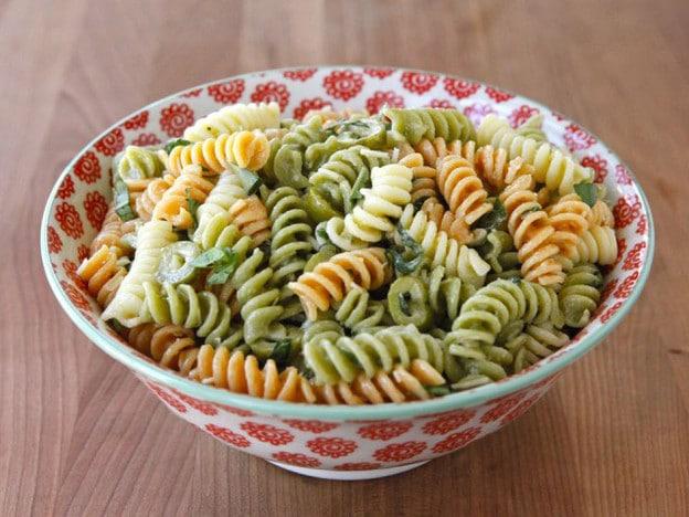 Meyer Lemon Basil Pasta Salad in a mixing bowl.